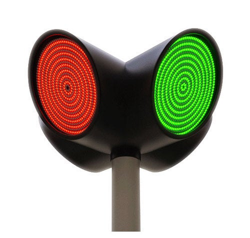 Two-Color LED Traffic Light Has One Drawback