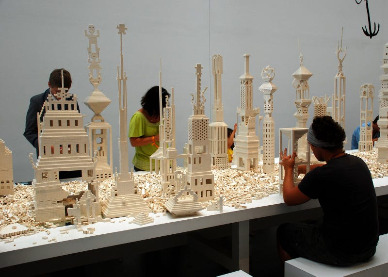 These people are building a massive 150,000-brick Lego cityscape