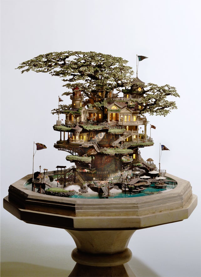 Artist transforms bonsai trees and empty cans into insane Lilliputian cities