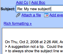 Always Show the Subject Line When Composing a Gmail Reply
