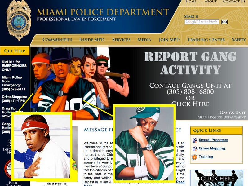 Jay-Z Appears in Police Department Picture of Gangbangers
