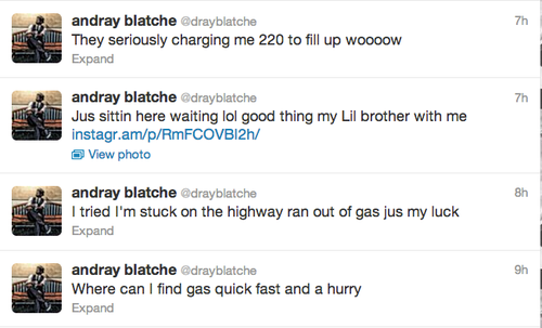 Andray Blatche Ran Out Of Gas On A New Jersey Highway After The Nets Game Last Night