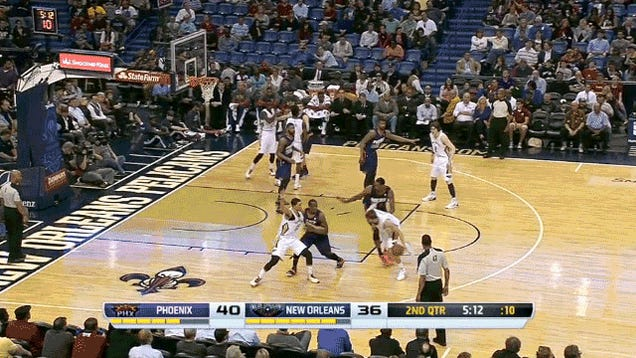 Jeff Withey Completes The Rare Pass Off Of The Referee's Head