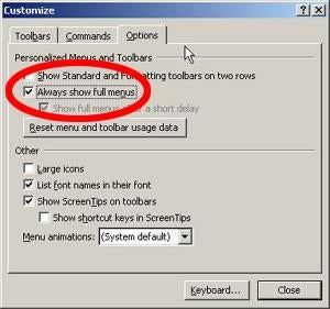 MS Office Tip: Disable Personalized Menus