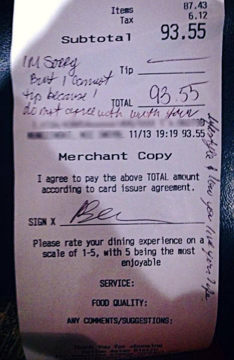 Ex-Marine Waitress Stiffed On Tip Because Customers Don't Like Gays