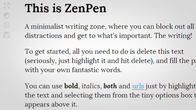 ZenPen is a Dead Simple, Distraction Free Writing Zone on the Web