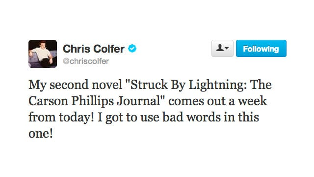 Lazybones Chris Colfer Is Publishing Yet Another Novel