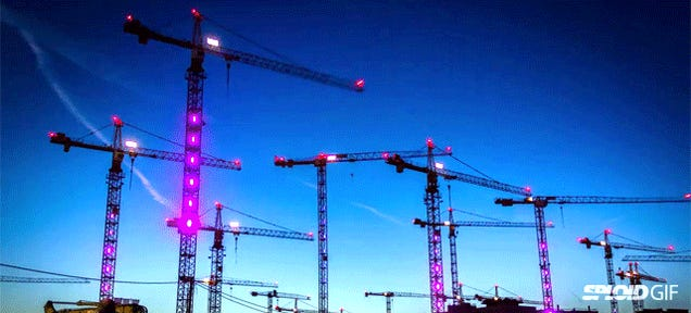 Watch construction cranes come to life and dance in a fun light show