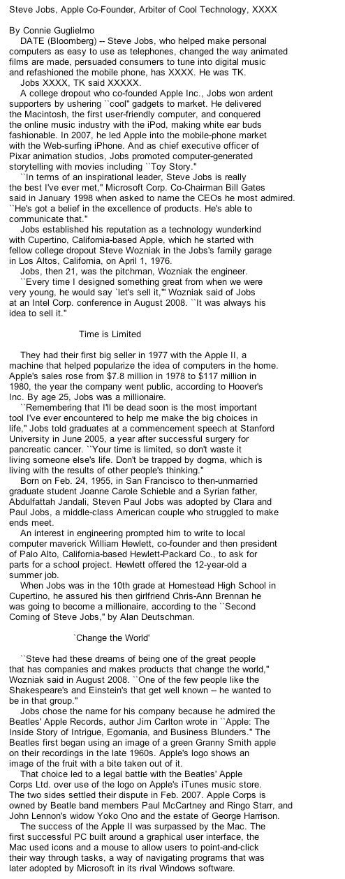 Bloomberg News Accidentally Publishes Draft of Steve Jobs's Obituary
