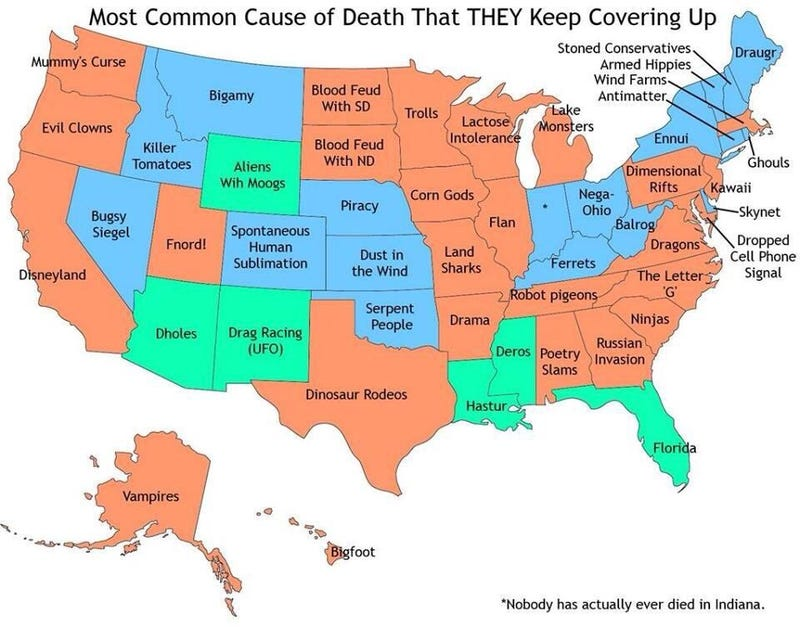 Common cause of death in your state that they cover up