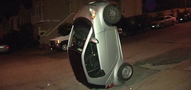Vandals Are Flipping Over Smart Cars In San Francisco