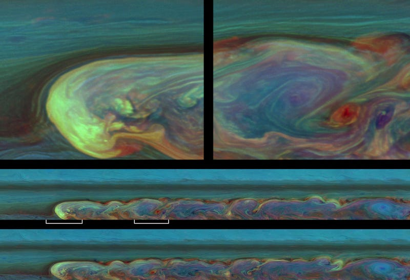 A storm circles Saturn so fast, it catches up with itself