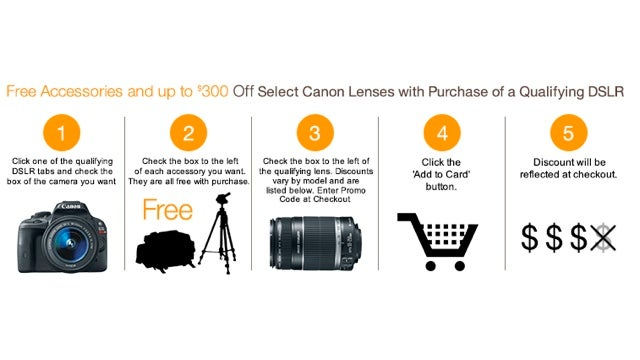 Amazon's Giving Away Accessories and Lens Discounts with Canon DSLRs