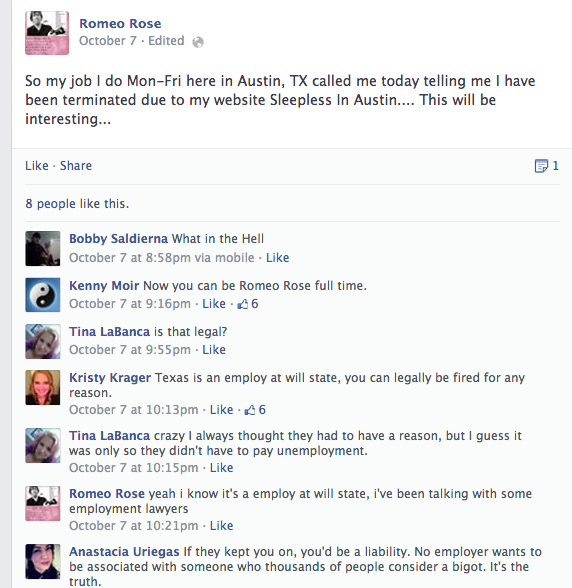 'Sleepless in Austin' Jackass Loses Job Because of His Awful Website