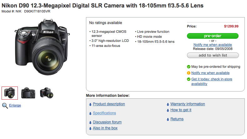 Nikon D90 Available For Pre-Order From Circuit City, HD Movie Mode Confirmed