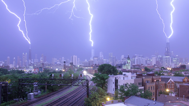 Watch Triple Lightning Strike 3 of Chicago's Tallest Buildings At Once
