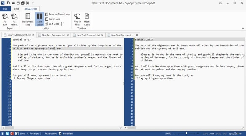 Notepad! is a Feature-Packed Text Editor with Ribbon UI and Tabs