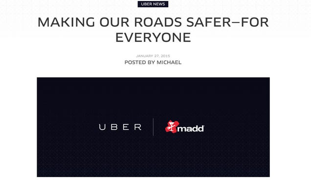 Uber Touts Relationship with MADD in a Desperate Bid for Good Press