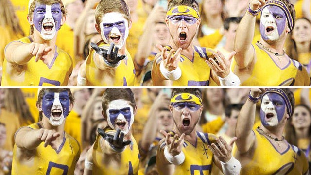 Why Did LSU Airbrush Out The Crosses Painted On These Dudes' Chests?