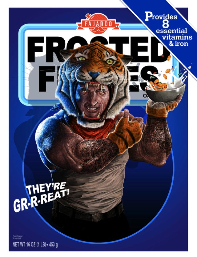If Tony the Tiger and the Trix Rabbit were human beings, they'd be freaking horrifying
