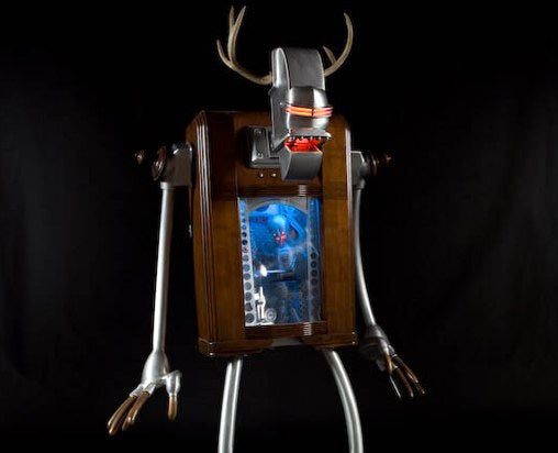 A Robot Within a Robot, Swaddled in a Wooden Radio Cabinet