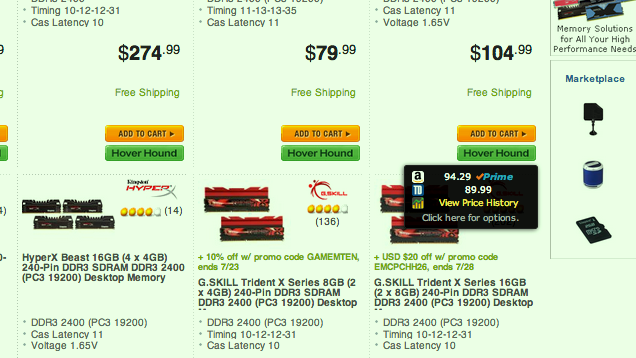Hover Hound Compares Newegg Prices with Tiger Direct and Amazon