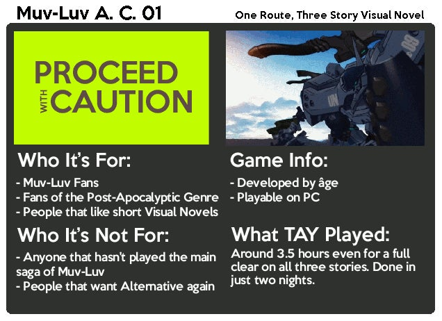 Muv-Luv Alternative Chronicles 01: The TAY Review