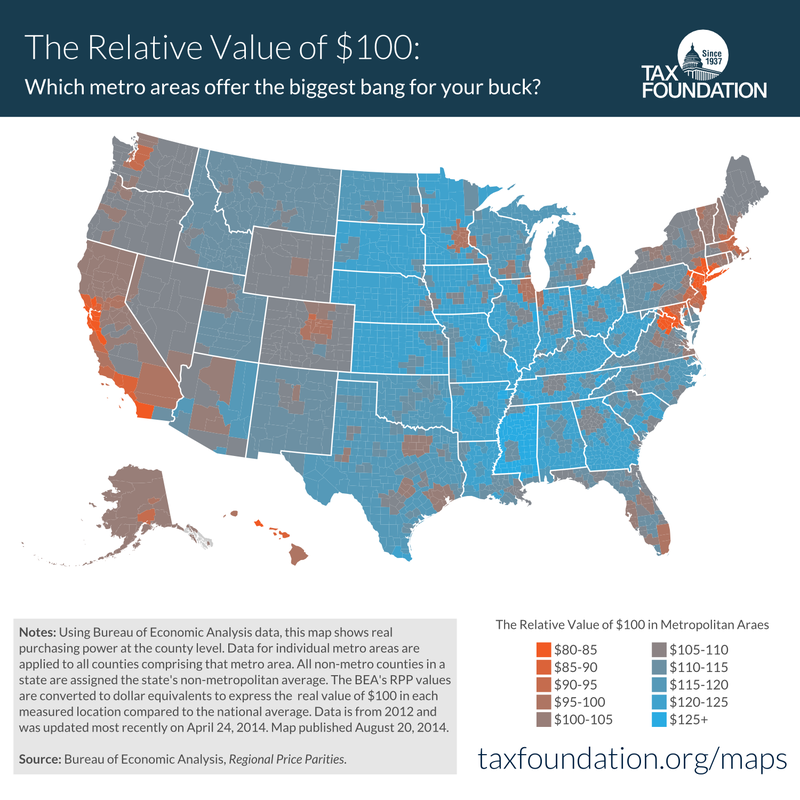 How Much $100 Is Really Worth in Every State