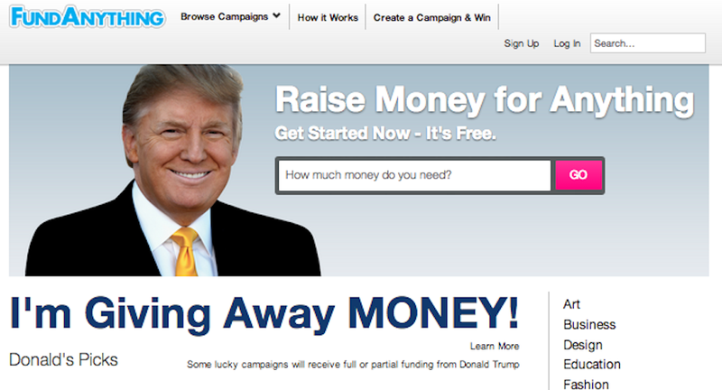 Donald Trump Is Giving Away 'Suitcases of Cash' to Promote His Startup