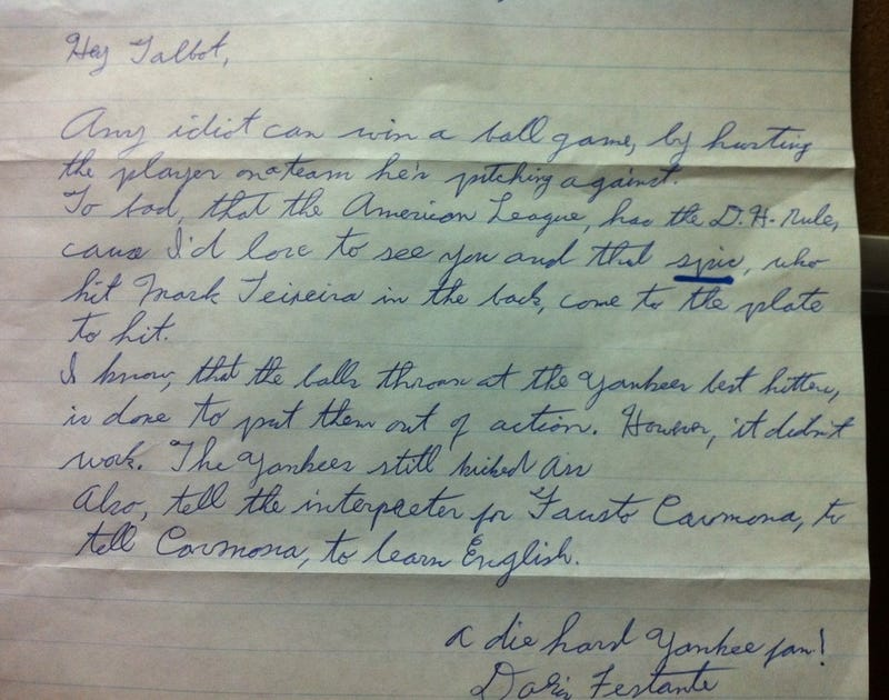 "Doris, A Die-Hard Yankees Fan, Sends Letter To Indians Pitcher In Which She Calls Fausto Carmona A ""Spic"""