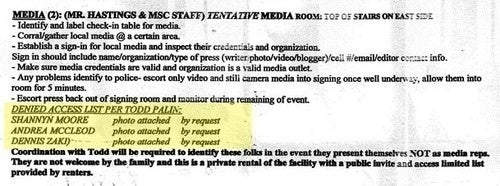 Palin's Banned Blogger List (and Two-Page Event Rider) Revealed!