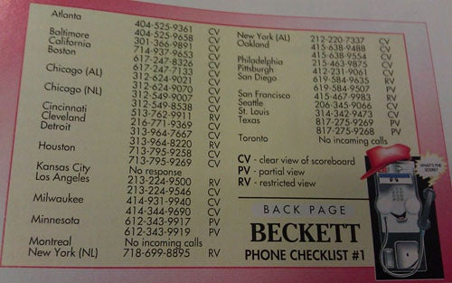 Useful Things: A 1990 List Of Payphone Numbers In MLB Ballparks