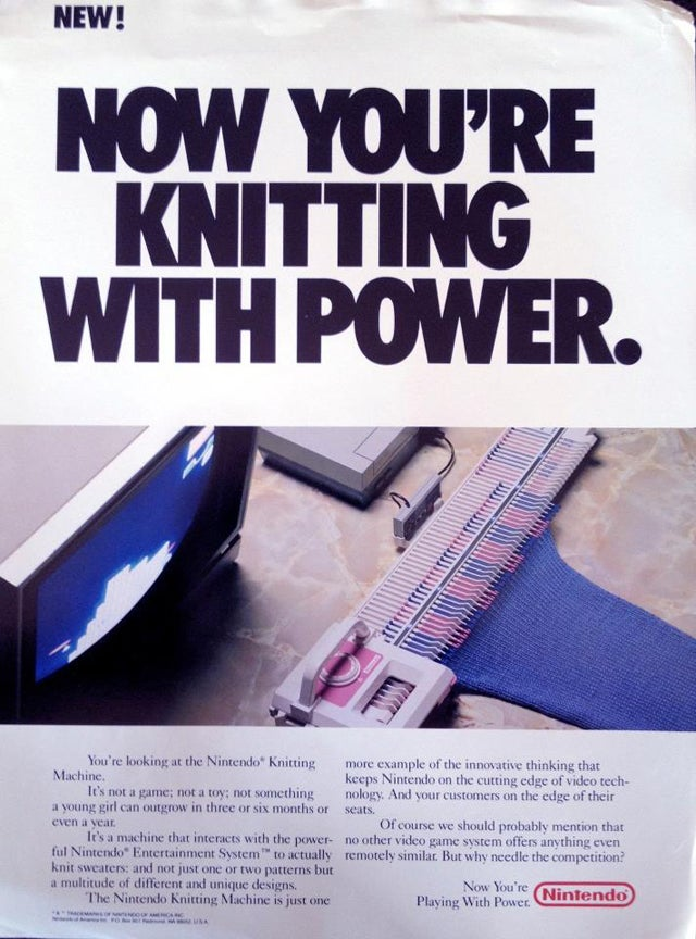 This Long-Lost Nintendo Knitting Machine Would Have Let You Make Sweaters With Your NES