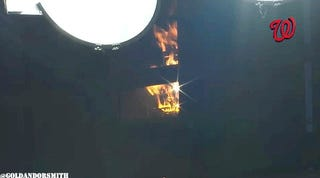 Just A Fire In A Light Tower During A Game At Nationals Park
