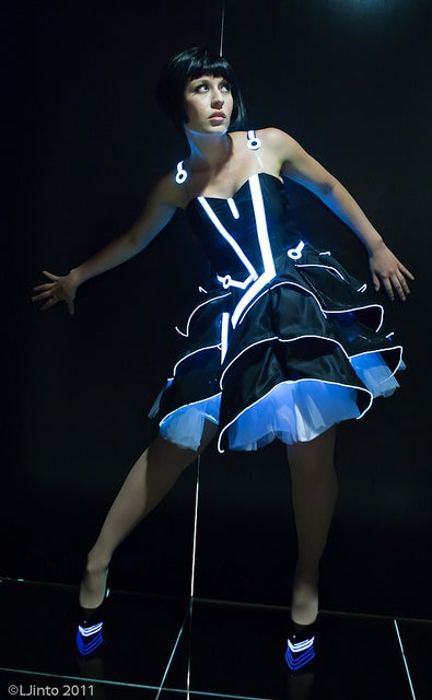 Tron prom dress lights up any dance floor