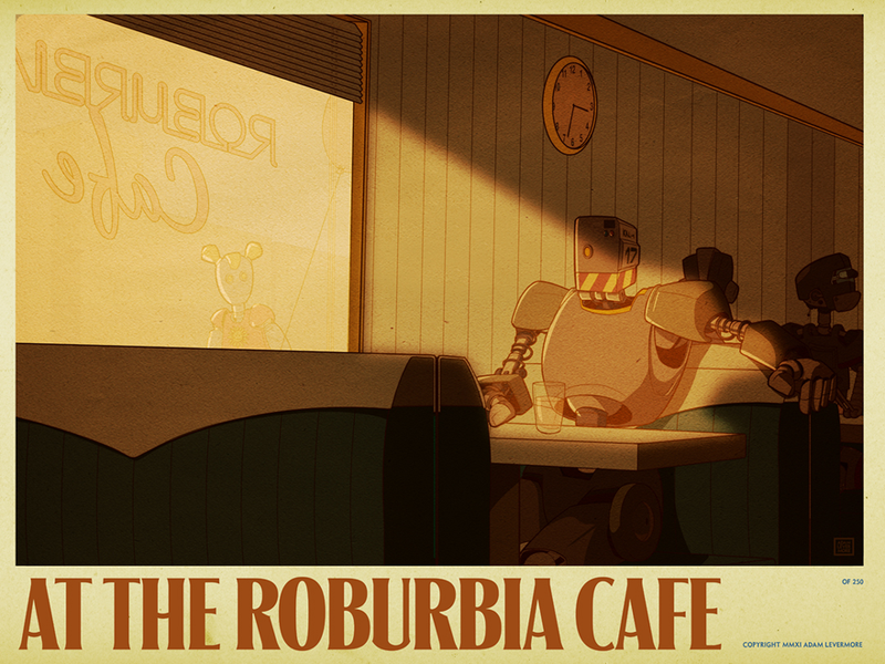 What do androids dream on a sunny afternoon at the Roburbia Cafe?