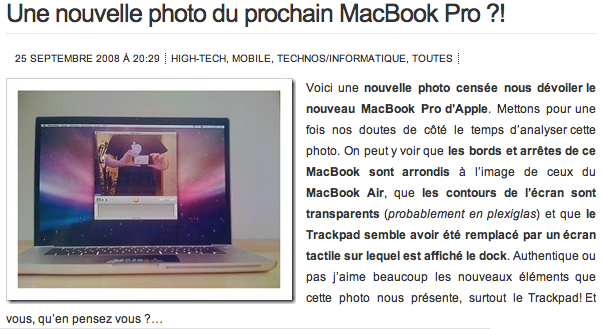 New MacBook Pro photo, maybe — it's French!