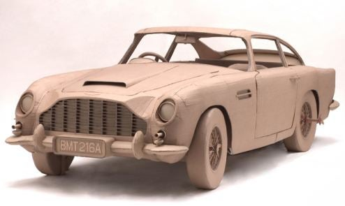 Full-Size Cardboard Aston Martin DB5 Comes Complete With Cardboard Spy Gadgets, Machine Guns