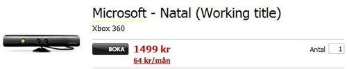 Swedish Retailers Spill Project Natal Price, And It's Expensive?