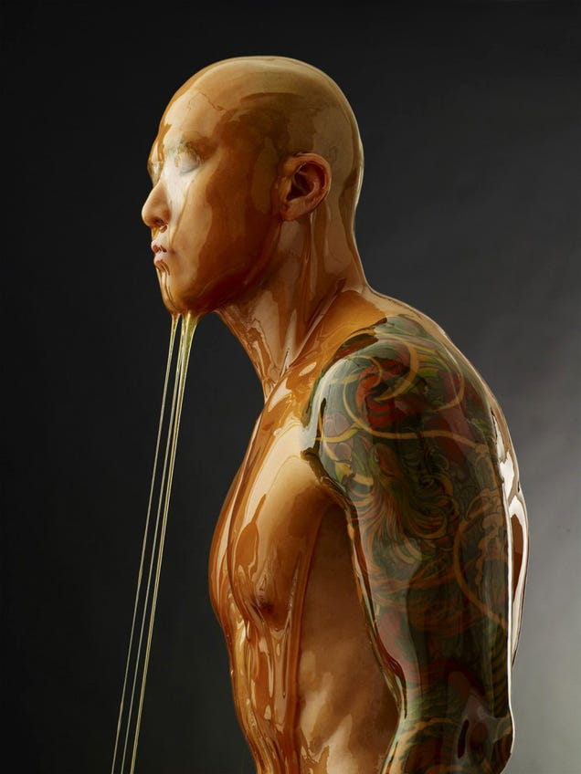 Amazing photos of naked people completely covered in honey (NSFW)
