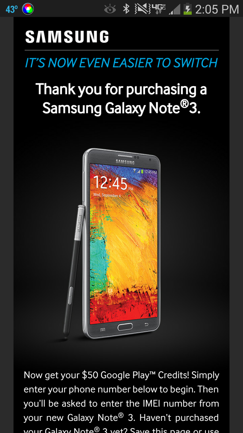 Free $50 Play Store credit for Samsung Galaxy Note 3 owners!