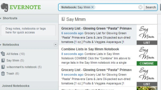 Say Mmm Integrates with Evernote to Create Automatic Shopping Lists