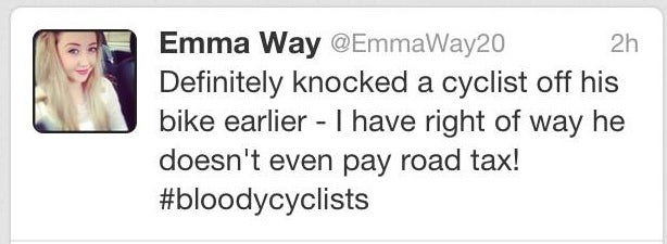 Woman Brags About Hitting Cyclist, Discovers Police Also Use Twitter