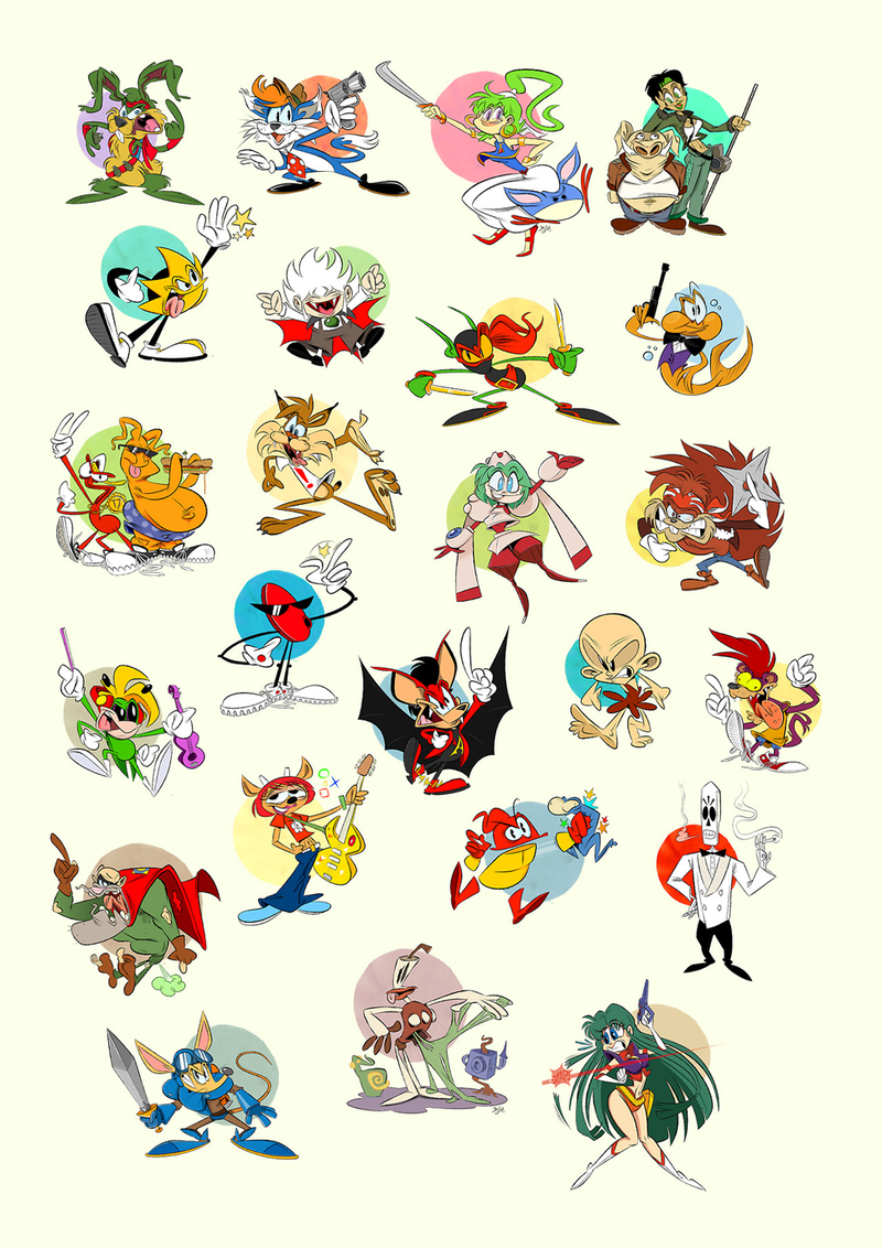 Classic Video Game Protagonists As Wacky Cartoon Characters