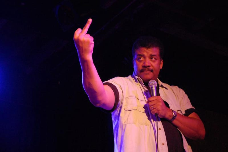 And now, a photoshopped picture of Neil deGrasse Tyson giving someone the finger (of science)
