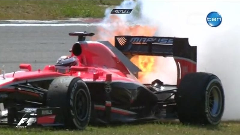 Future Ferrari F1 Driver's Car Catches Fire