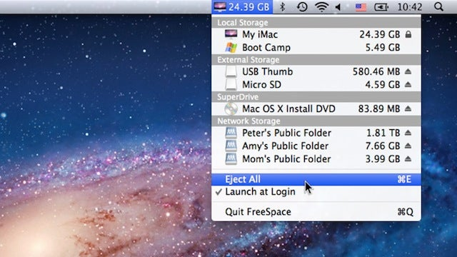 FreeSpace for Mac Puts All of Your Drives and Their Available Space in the Menubar