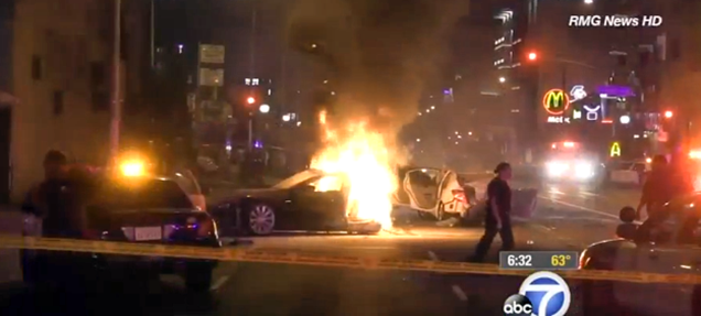 Stolen Tesla Splits In Two In Fiery Police Chase Crash