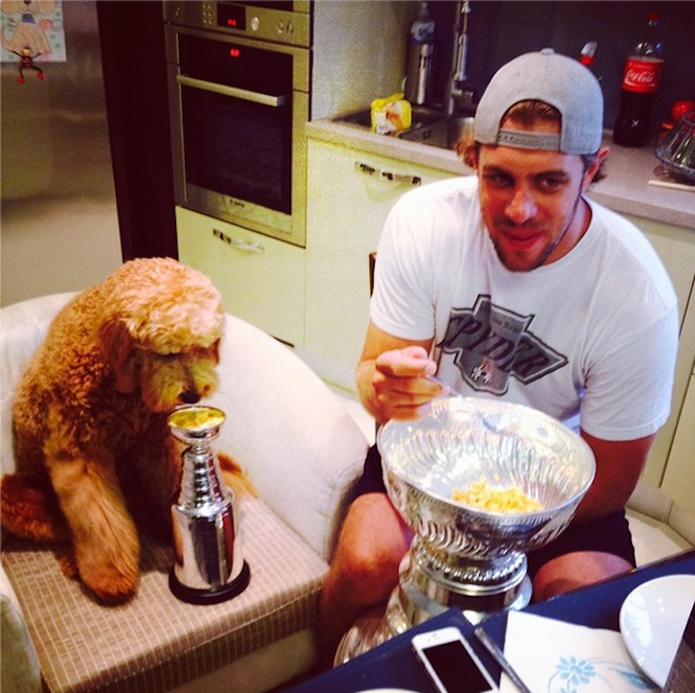 Anze Kopitar And His Dog Enjoy Stanley Cup Breakfasts