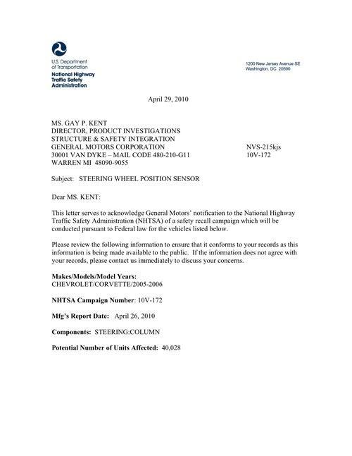 2005-06 Corvette Recalled For Steering Column Issue